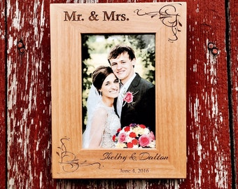 Personalized Wood Photo Frame 4x6 *Wedding Picture Frame Engraved*
