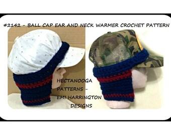 BALL CAP Earwarmer, Neckwarmer Crochet PATTERN, pdf instant download, #2142