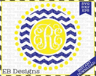 Chevron Monogram Frame Cut File (SVG, EPS and DXF)