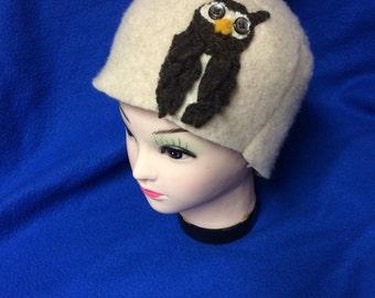 Handmade tan lambswool hat with owl
