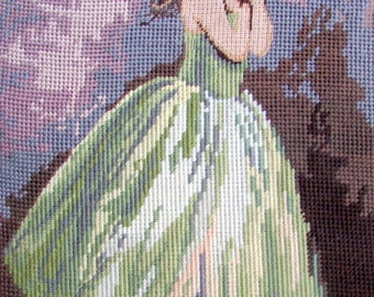 "FINISHED NEEDLEPOINT CANVAS//""Ballerina""by Seg de paris/a Vintage Hand Made Needlepoint/a Young Ballerina.//Material Only Was//(100.00) Now!"