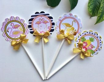 Flamingo cupcake toppers/Pink and Gold Flamingo/ Flamingo theme