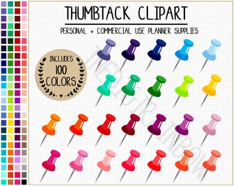 SALE 100 THUMBTACK clipart thumbtack stickers paper clip stickers thumbtack icon push pin clipart art graphics rainbow Erin Condren stickers