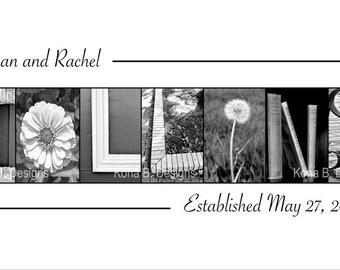 Alphabet Photo Letter Art  Wedding Name Frame Alphabet Photography Print  - 10x20 Unframed