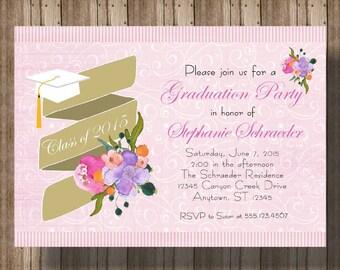 GRADUATION PARTY INVITATION / Pink Floral Graduation Party Invitation for Girl / High School Graduation Party / College Graduation Party