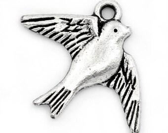 5 pendants charm swallow birds animals 23mm x 18mm