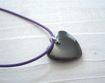 Hematite heart Pendant Necklace, healing and protection jewelry jewellery