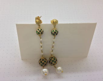 Indian Wedding Earrings-Emeralds and Pearls