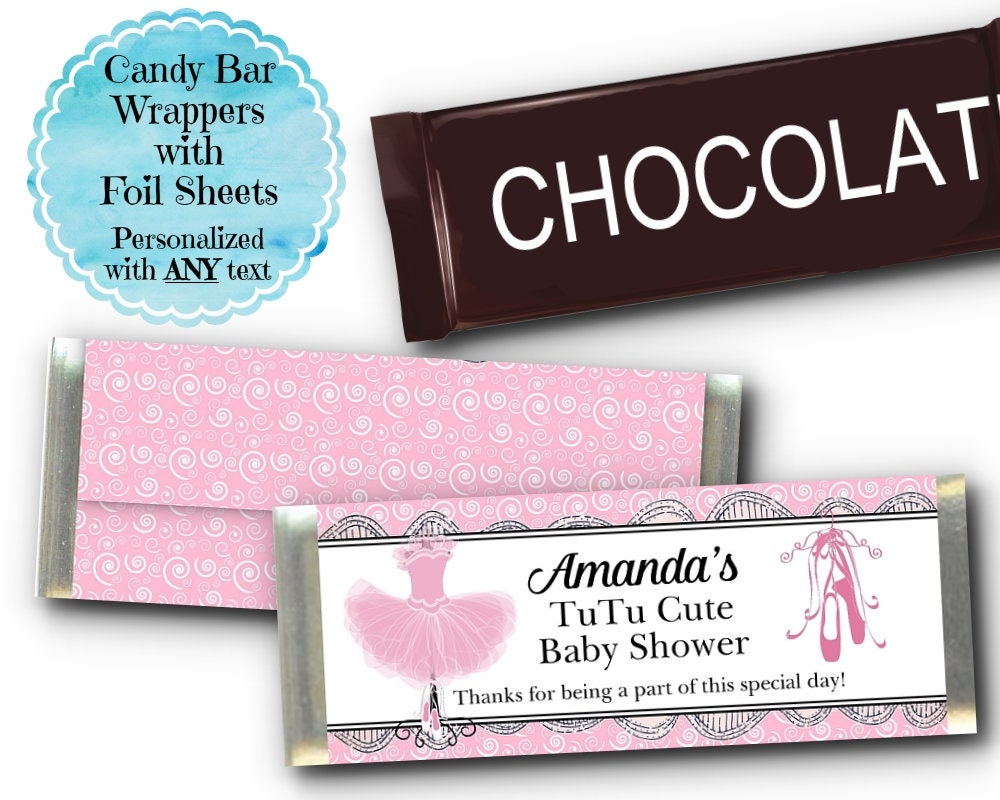 12 Candy Bar Wrappers Candy Favors Pink Ballerina Tutus