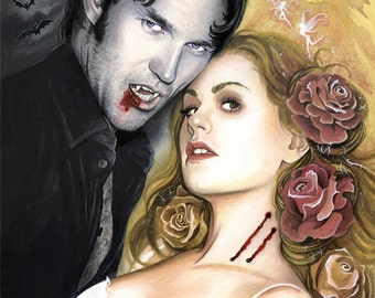"""Sunlight on your skin - True Blood Fan Art Watercolor Painting - Photo Print 20x30cm (7.9"""" x 11.8"""") - Hand Signed"""