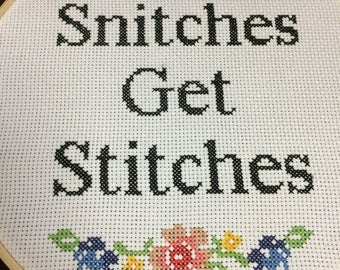 Snitches Get Stitches Cross-stitch - Finished Product