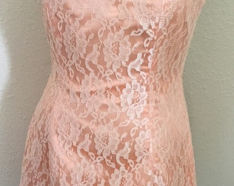 80's Vintage Peach Lace  Formal Mini Dress