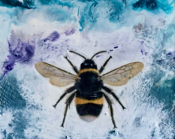 original encaustic painting-  Bumble Bee