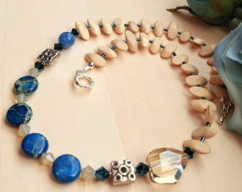 Citrine and Blue Accents Necklace