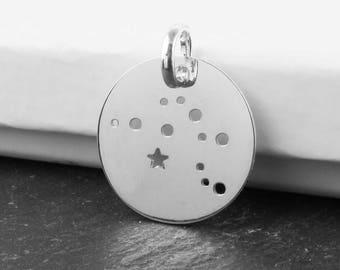 Sterling Silver Aquarius Constellation Pendant 18mm