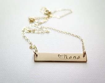 Mothers Day Nana Necklace with Heart - Personalized with your name - 14k Gold Fill Hand Stamped Jewelry - Betsy Farmer Designs