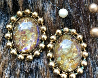 Vintage Signed Kirks Folly Gold Iridescent Clip On Earrings rare collectible