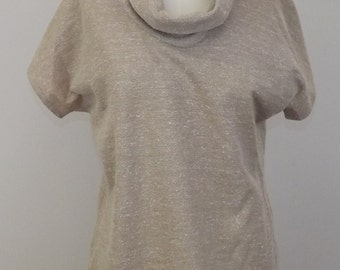 Vintage Beige Cowl Neck Knit Shirt