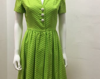 1950's  vintage green jewel button dress