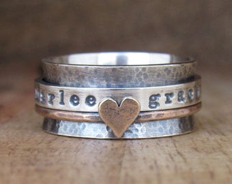 Spinner Ring, Spinning Ring, Sterling Silver Ring, Fidget Ring, Hammered Ring, Worry Ring, Rustic Ring, Mixed Metal