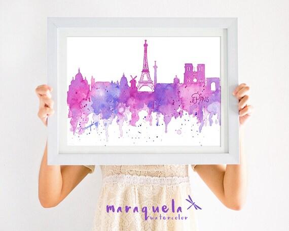PARIS Skyline Blue hues watercolor skyliner illustration France , art print, poster , gift PARIS, decoration Paris trip, Eiffel Tower, CITY