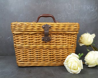 Antique French Wicker Fishing Creel Basket. Rustic Charm