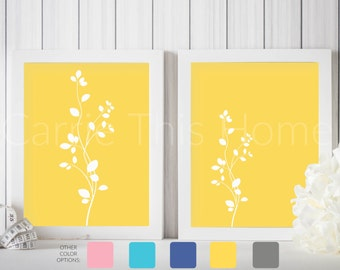 Instant digital download art prints | set of 2 8x10 prints | mustard yellow flowers | perfect for living room decor or gallery wall