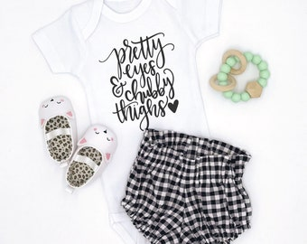 Pretty Eyes / Chubby Thighs / Baby Bodysuit / Baby Girl / Girl Clothing / Baby Clothes / Baby Gift / Baby Shower / Funny
