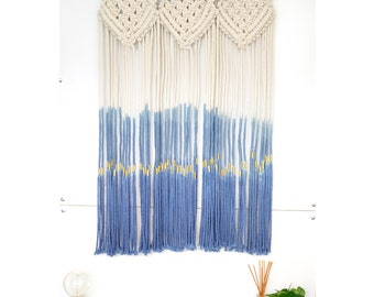 Large macrame wall hanging art hand dyed boho home decor, dip dyed fiber macrame art, blue macrame wall decor / BREEZE