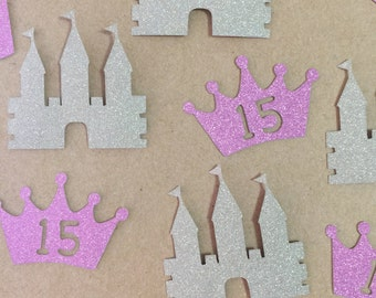 Princess Crown and Castles Glitter Die Cuts Handmade Scrapbook Birthday PartyMetallic Sparkle Stationery Quincenera Decoration