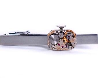 Steampunk Vintage Concord Watch Movement Tie Bar Alligator Clip