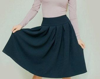 Dark blue skirt Classic Skirt Spring skirt Odffice clothing everyday skirt business woman clothes Midi skirt folds Occasion skirt