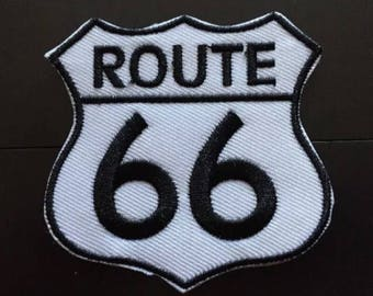 """ROUTE 66 Highway Road Sign Iron on Embroidered patch (2.75"""")"""