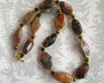 Jasper and goldstone necklace