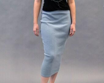Ribbed Knit Midi Pencil Skirt
