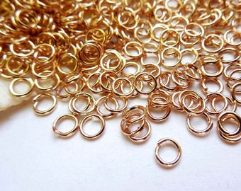 50/100 Rose Gold Plated Jump Rings 4mm, Open Loop, Jewelry Making - 9-RG-4OL