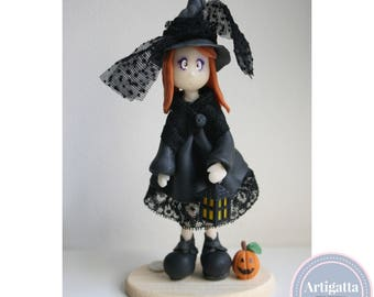 Ooak doll witch handmade with cold porcelain miniature