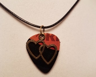 Guitar Pick Necklace made from Vinyl Record - two hearts