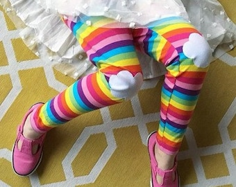 Rainbow Leggings. Girls Leggings. Toddler Leggings. Gift for Girl. Rainbow Clothing. Rainbow Pants. Knee Patch Leggings. Rainbow costume