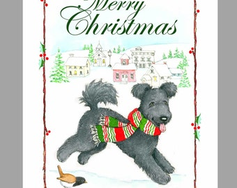 Pumi 'Black' Christmas Cards Box of 16 Cards and 16 Envelopes