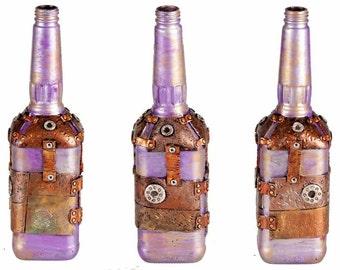 """11"""" Steampunk Oil Lamp Bottle - Silver/Purple"""