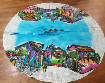 Vintage 1950s Hand painted Mexican circle skirt / Mexican Skirt with village