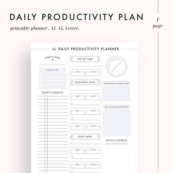 Daily Planner Productivity Planner Daily Goals Daily - Productivity planner review