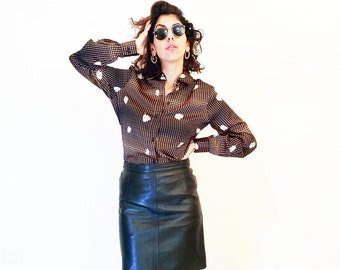 Vintage LEATHER SKIRT, 80's REAL Leather skirt, Black A line skirt, Punk Goth rocker High Waist Skirt, casual black skirt, Size S Xs