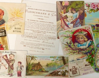 Assortment of Antique Trade Cards/ Advertising/ Collage Supply/ Paper Ephemera