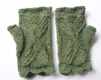 Lace fingerless gloves.  Green variegated wool.  Hand knitted   Ready for shipping