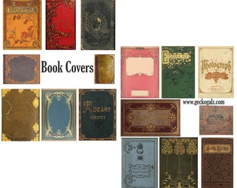 Vintage Book Covers Digital Collage Set