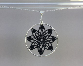 Tavita doily necklace, black silk thread, sterling silver
