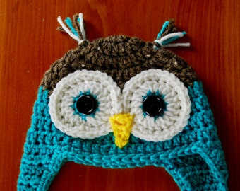 Owl Hat - Newborn to Adult sizes available, Animal Hat, Character Hat, Baby Hat, Child Hat, Christmas Gift Idea, Baby Shower Gift Idea, Hat