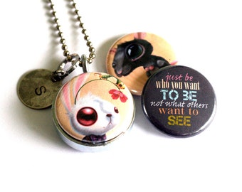 Be Yourself Teen Locket Necklace, Great Grad Gift, Magnetic Locket, Interchangeable Lids, Custom Stamped Initial, Cuddly Rigor Mortis Art